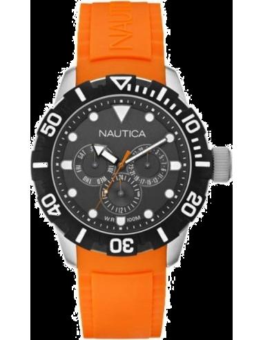 Chic Time   Montre Homme Nautica NSR 101 A13646G Bracelet orange en résine    Prix : 151,99€