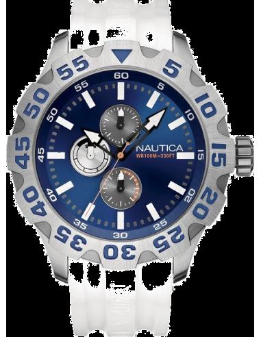 Chic Time | Montre Homme Nautica BFD 100 A15567G Bracelet en résine blanche  | Prix : 139,00€