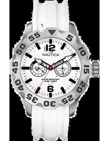 Chic Time | Montre Homme Nautica BFD 100 A16603G Boîtier argenté et bracelet blanc  | Prix : 189,00€