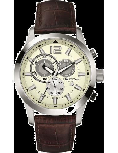 Chic Time | Montre Homme Nautica NCS 600 A15549G Bracelet en cuir croco marron  | Prix : 179,00€