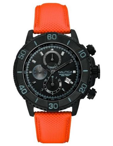 Chic Time   Montre Homme Nautica NST 500 A21533G Bracelet en cuir orange    Prix : 235,00€