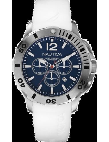 Chic Time | Montre Homme Nautica BFD 101 A16568G Bracelet en résine blanche  | Prix : 199,00€