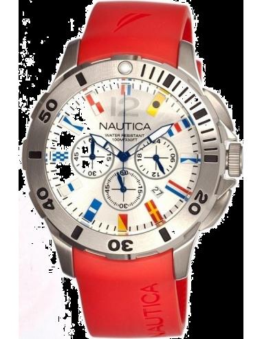 Chic Time | Montre Homme Nautica BFD 101 A18639G Bracelet rouge et cadran avec drapeaux  | Prix : 189,00€