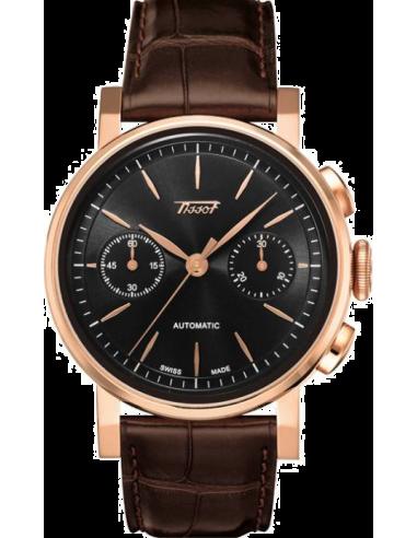 Chic Time | Montre Homme Tissot Heritage 2009 T9044327605100 Bracelet en cuir croco marron  | Prix : 559,00€