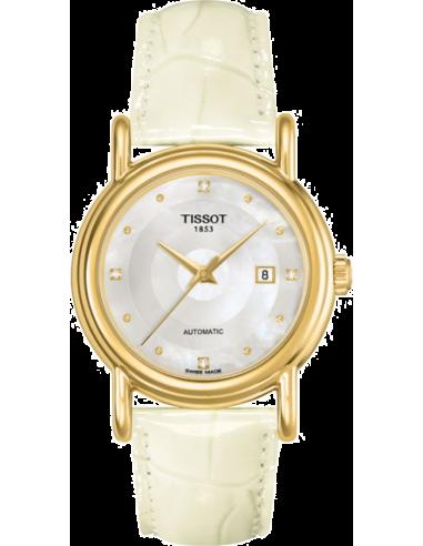 Chic Time   Montre Femme Tissot Carson Automatic T9070071610601 Bracelet en cuir croco blanc    Prix : 1,845.00