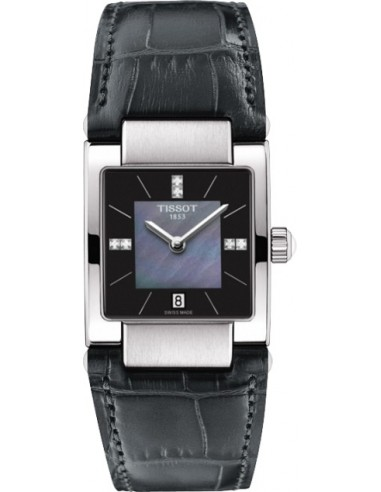 Chic Time   Montre Femme Tissot T02 T0903101612600 Bracelet en cuir croco noir    Prix : 515,00€