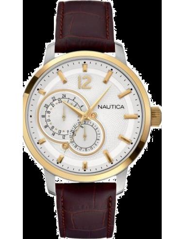 Chic Time | Montre Homme Nautica NCT 15 A16648G Bracelet en cuir croco marron  | Prix : 134,10€