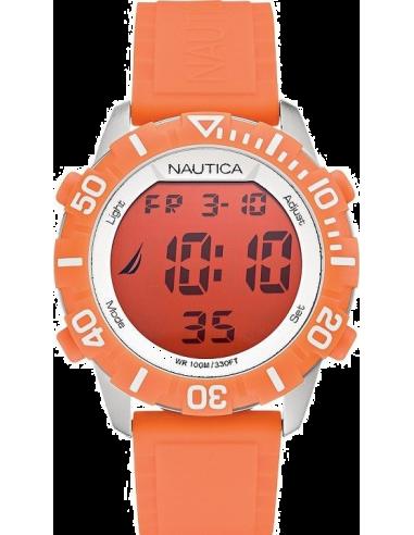 Chic Time | Montre Mixte Nautica NSR 100 A09927G Bracelet en silicone orange  | Prix : 56,99€