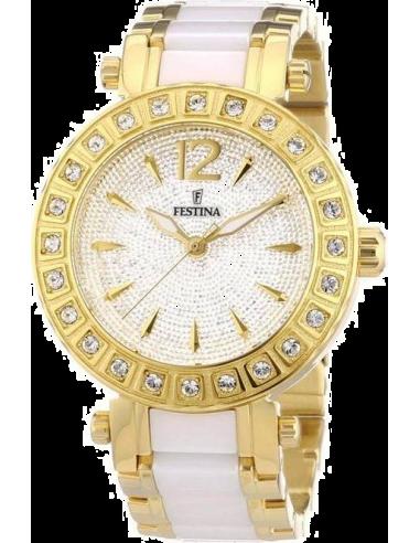 Chic Time | Montre Femme Festina Ceramic F16644/3 Bracelet en acier doré et céramique blanche  | Prix : 57,25€