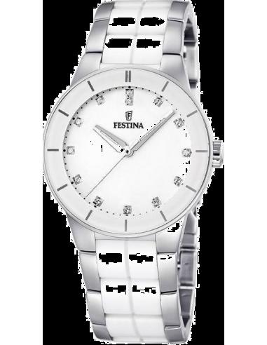 Chic Time   Montre Femme Festina Ceramic F16531/3 Bracelet en acier argenté et céramique blanche    Prix : 34,75€