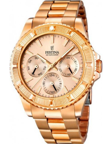 Chic Time | Montre Femme Festina Boyfriend F16786/2 Boîtier et bracelet en acier doré rose  | Prix : 37,25€