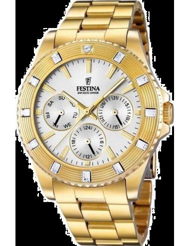 Chic Time   Montre Femme Festina Boyfriend F16694/1 Bracelet doré et cadran argenté    Prix : 44,75€
