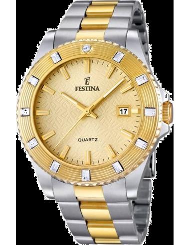 Chic Time | Montre Femme Festina Boyfriend F16688/2 Bracelet bicolore et cadran doré  | Prix : 129,00€