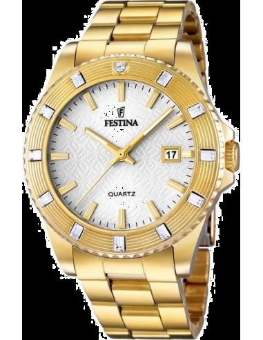 Chic Time   Montre Femme Festina Boyfriend F16686/1 Lunette avec pierres zircon et cadran blanc    Prix : 32,25€