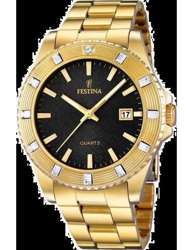 Chic Time | Montre Femme Festina Boyfriend F16686/5 Bracelet doré et cadran noir  | Prix : 32,25€
