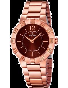 Chic Time | Montre Femme Festina Mademoiselle F16733/2 Bracelet de couleur or rose et cadran marron  | Prix : 129,00€