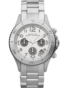 Chic Time | Montre Mixte Marc by Mac Jacobs Metal Rock Chrono MBM3155 Bracelet en acier argenté  | Prix : 250,00 €