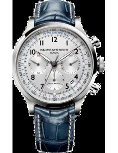 Chic Time | Montre Homme Baume & Mercier Capeland 10063 Bracelet bleu en cuir croco  | Prix : 2,090.00