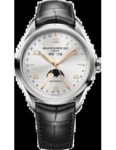 Chic Time | Montre Homme Baume & Mercier Clifton 10055 Boîtier argenté et bracelet en cuir croco noir  | Prix : 2,469.50