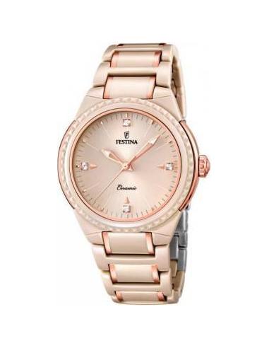 Chic Time | Montre Femme Festina Ceramic F16698/6 Bracelet de couleur or rose en céramique  | Prix : 57,25€