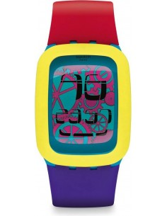 Chic Time | Montre Swatch Touch Yellow Tang SURS101 Bracelet tricolore en silicone  | Prix : 88,00 €