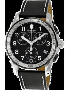 Chic Time | Montre Homme Victorinox Chrono Classic 241404 Bracelet noir en cuir  | Prix : 550,00€