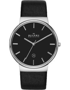 Chic Time | Montre Homme Skagen Ancher SKW6104 Bracelet en cuir noir  | Prix : 149,00€