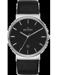 Chic Time | Montre Homme Skagen Ancher SKW6104 Bracelet en cuir noir  | Prix : 189,90€