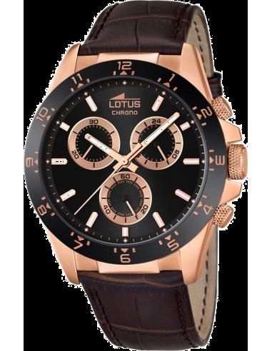 Montre Homme Lotus Minimalist L18158/4 Bracelet brun en cuir et cadran noir