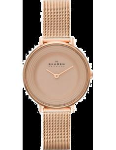 Chic Time | Montre Femme Skagen Ditte SKW2213 Bracelet acier doré rose à maille milanaise  | Prix : 129,99€
