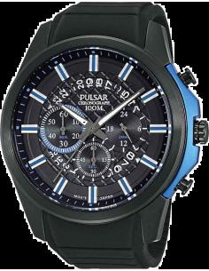 Chic Time | Montre Homme Pulsar PT3567X1 Noire et Détails bleus  | Prix : 89,50€