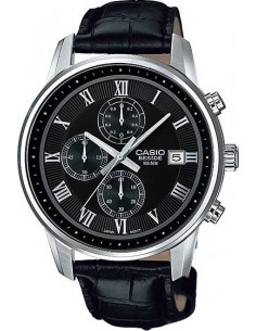 Chic Time | Montre Homme Casio Collection BEM-511L-1AVEF Index argentés et bracelet aspect croco noir  | Prix : 119,00 €