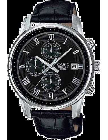 Chic Time | Montre Homme Casio Collection BEM-511L-1AVEF Index argentés et bracelet aspect croco noir  | Prix : 119,00€