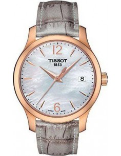 Chic Time | Montre Femme Tissot Tradition T0632103711700 Bracelet gris en cuir type croco  | Prix : 340,00€