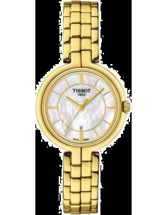 Chic Time | Montre Femme Tissot Flamingo T0942103311100 Bracelet doré jaune finition polie  | Prix : 395,00€