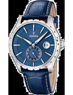 Chic Time   Montre Homme Festina Retro F16486 6 Bracelet En Cuir bleu  motifs croco 71b4a99129ac