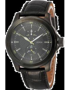 Chic Time | Montre Homme Guess W95121G3 Bracelet en cuir couleur noire  | Prix : 75,60€