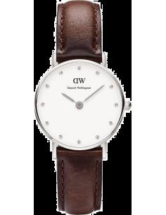 Chic Time | Montre Femme Daniel Wellington Classy Bristol DW00100070 Bracelet marron cuir lisse  | Prix : 77,40€