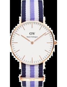 Chic Time | Montre Daniel Wellington Classic 0509DW Bracelet tricolore bleu et blanc  | Prix : 83,40€