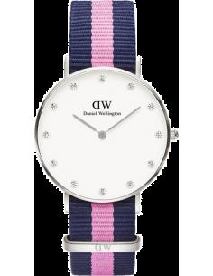 Chic Time | Montre Daniel Wellington Classy Winchester 0962DW Tissu bleu et rose  | Prix : 139,00€