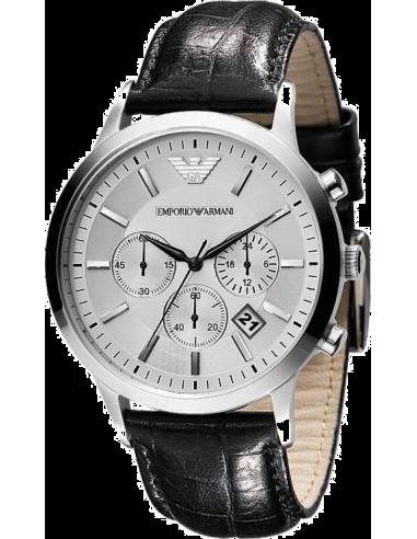 Chic Time   Montre Emporio Armani AR2432 Chronomètre Cuir Noir    Prix : 194,35€