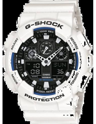Chic Time | Montre Homme Casio G-Shock GA-100B-7AER Bracelet résine blanche  | Prix : 99,00€