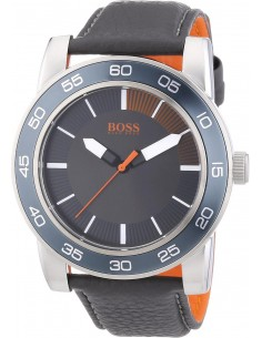 Chic Time | Montre Homme Boss Orange Kick Off 1512862 bracelet noir en cuir  | Prix : 67,60 €