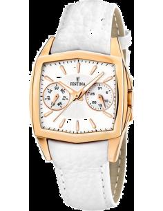 aee73b819f7ddd Chic Time   Montre Femme Festina Gleam F16264 F Bracelet en cuir blanc    Prix