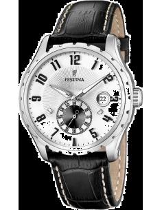 Chic Time   Montre Homme Festina Retro F16486 1 Bracelet En Cuir Noir  coutures blanches 888e47c42712