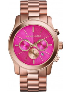 Chic Time | Montre Femme Michael Kors Runway MK5931 Cadran rose bonbon et acier doré rose  | Prix : 349,00€